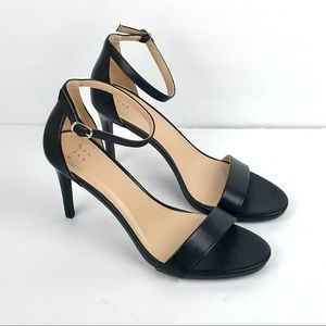 Black Faux Leather Myla Stiletto Heel Pumps